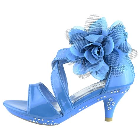 kid high heels dress sandals strappy patent leather flower high heel