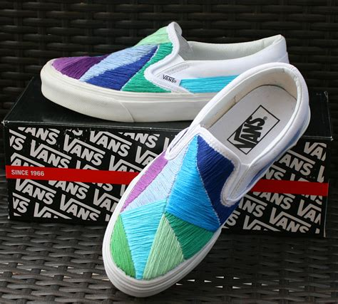 personalized shoes for custom embroidered vans shoes saltwater blue