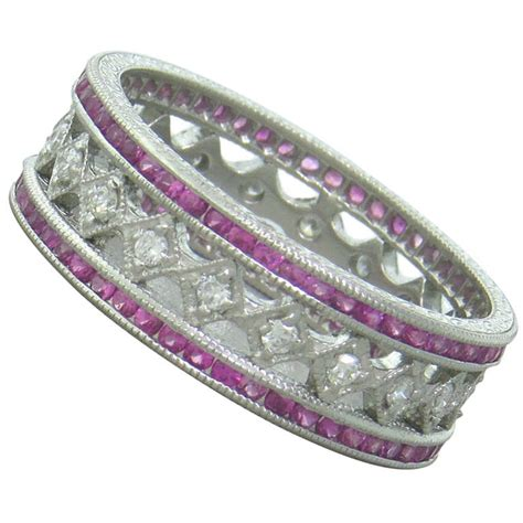 platinum pink sapphire band ring at 1stdibs