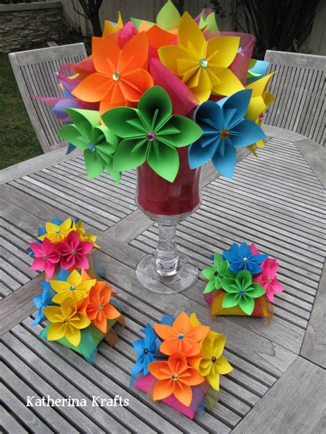 Large Origami Flowers - large rainbow flower centerpiece 80 00 centerpieces
