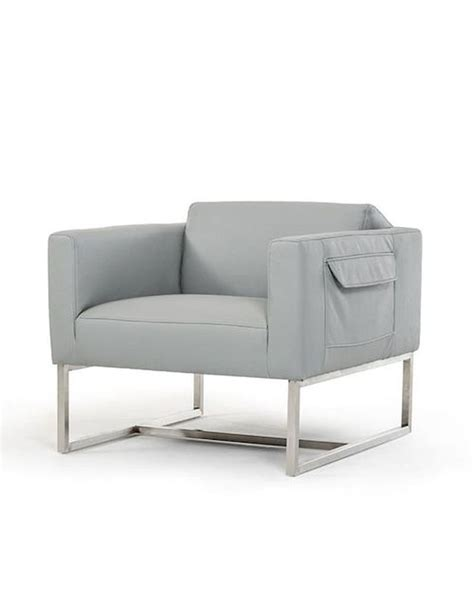 Contemporary Leather Lounge Chairs by Contemporary Grey Eco Leather Lounge Chair 44o770 Gry