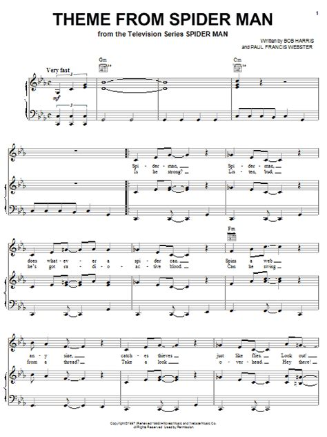 theme song spiderman theme from spider man sheet music direct
