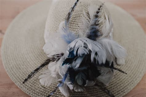 Blue Goose Feathers Scraf Leher kentucky derby inspired hat moonlight feather