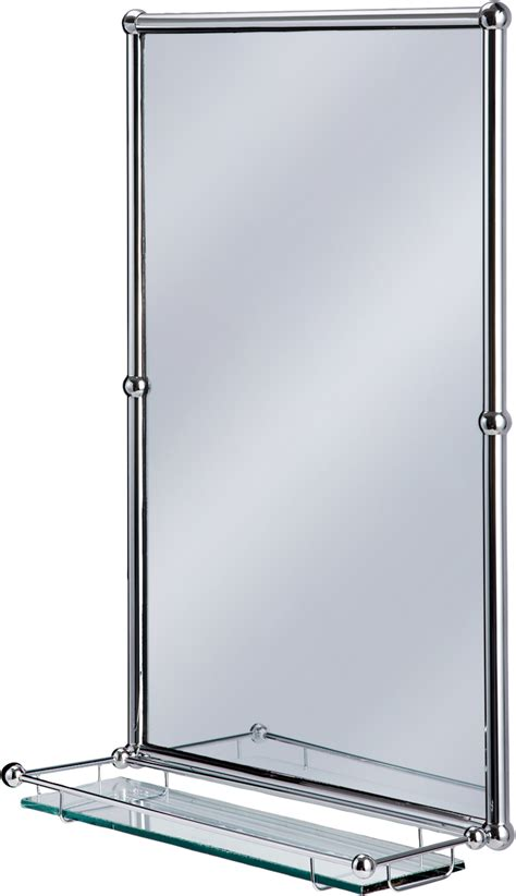Burlington Bathrooms Chrome Rectangular Mirror With Shelf Mirror Shelves Bathroom