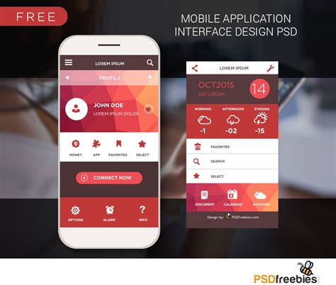 mobile home screen ui design  psd  nice
