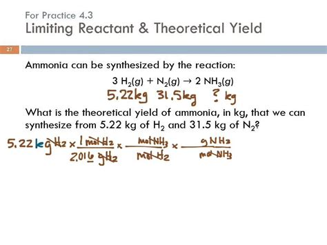 4 3 limiting reactant theoretical yield percent yield