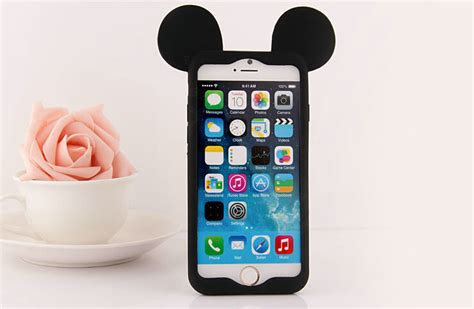 I Phone 7 Mickey Black buy wholesale mickey bumper frame cover disney silicone cases shell for iphone 6 4 7