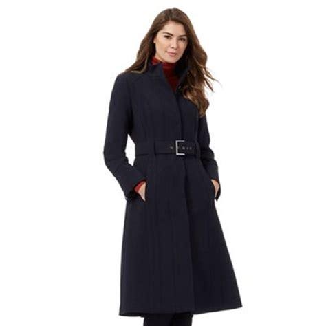 jasper conran navy blue long crepe funnel coat