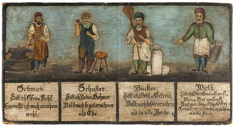 18th century black smith hair signboard showing a blacksmith cobbler baker and tavern