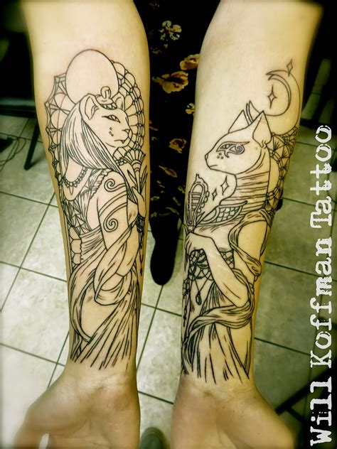 egyptian goddess tattoos sekhmet and bastet tattoos on arm best