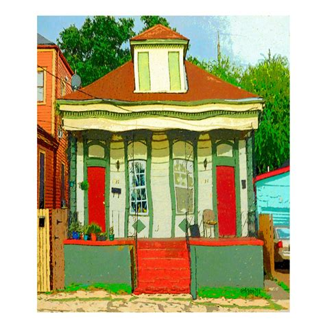 orange cats in window colorful new orleans house whimsical