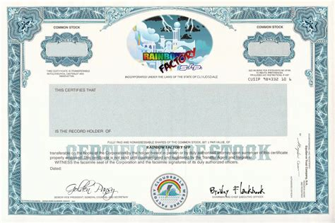 rainbow factory stock certificate template by mr uhrig on