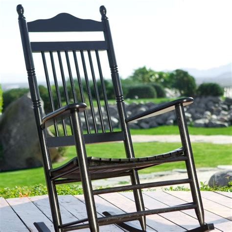 dixie seating indoor outdoor spindle rocking chair black