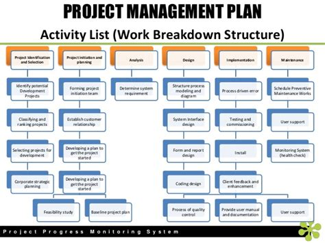 project management wbs template project progress monitoring system