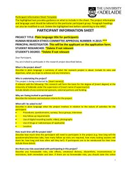 research participant information statement consent form