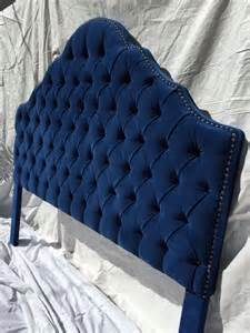 Blue Tufted Headboard Royal Blue King Size Tufted Headboard With A Row Of
