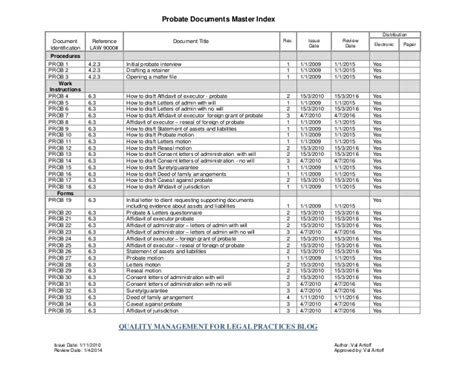 document master list template sle probate documents master index