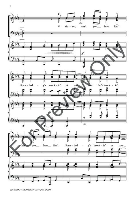 Knock Knock At The Door Nativity Song by Somebody S Knockin At Your Door Satb By J W Pepper Sheet