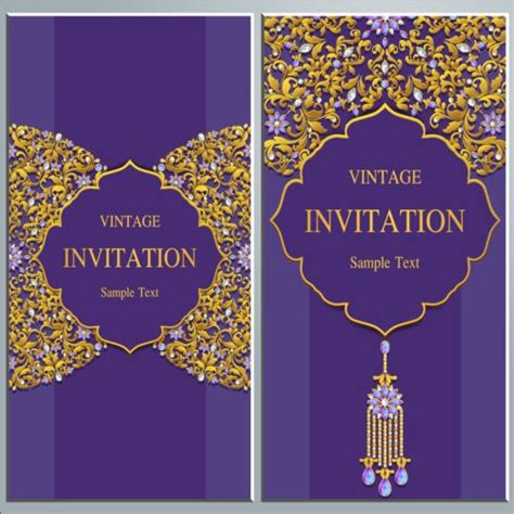 design invitation card vintage vintage invitation cards with jewelry decor vector 01