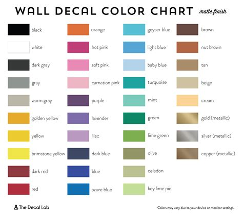 matte colors chart pictures inspirational pictures