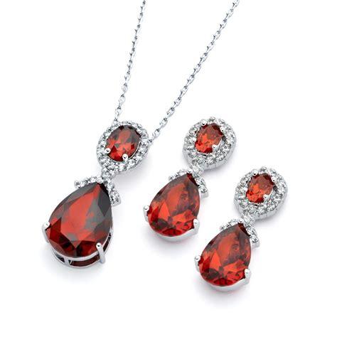 Teardrop Necklace Set sterling silver teardrop earring and necklace set