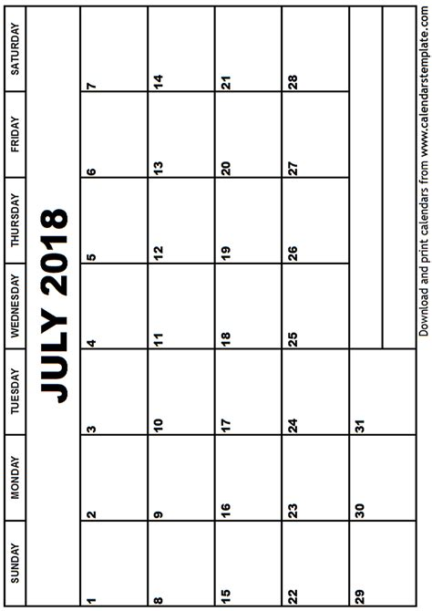 printable calendar 2018 to write on july 2018 calendar template