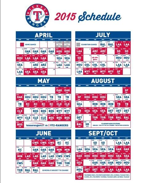 printable rangers schedule 17 best images about