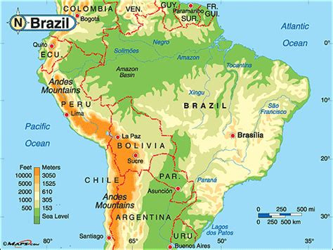brazil physical map brazil physical map by maps from maps world s