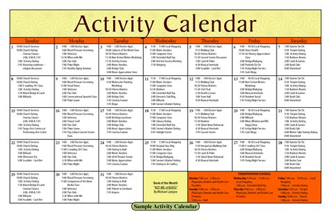 activity calendar template image gallery nursing home activity calendar