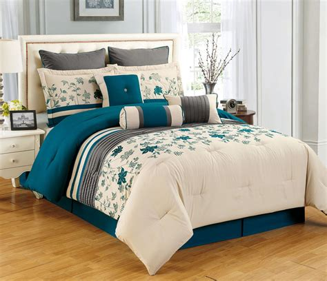 9 piece king selene teal and beige comforter set