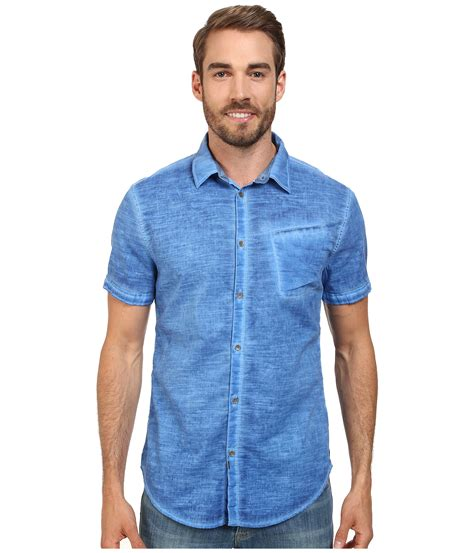 shirts for lyst calvin klein cold pigment dyed shirt in blue