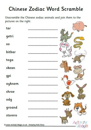 zodiac word search printable chinese new year puzzles for kids