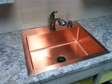 Industrial Kitchen Furniture Hand Made Drop In Copper Kitchen Sink By Kutz Fine