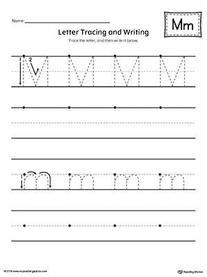 printable tracing letter m letter m practice worksheet myteachingstation com