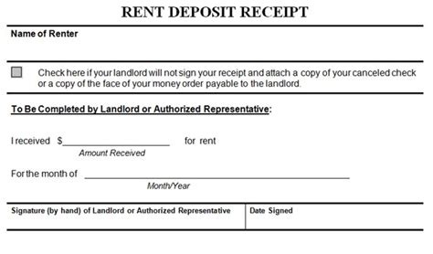 deposit receipt template receipt template for rent deposit images