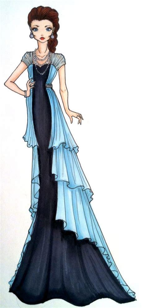 fashion illustration draping dress evening wear fashiontsunami