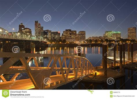 Portland Oregon Nw Mba Sept 9 by Portland Oregon Akyline And River At Twilight Stock Photo
