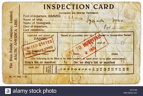 Identification Card Ellis Island Template by Immigration Inspection Card Issued To Migrants Arriving