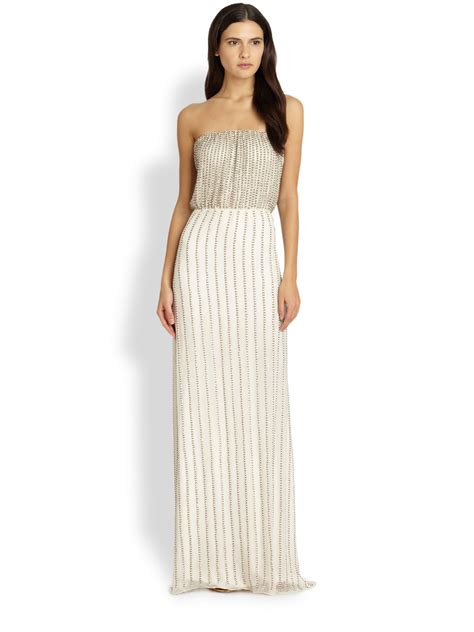 beaded white gown silk strapless beaded gown in white lyst