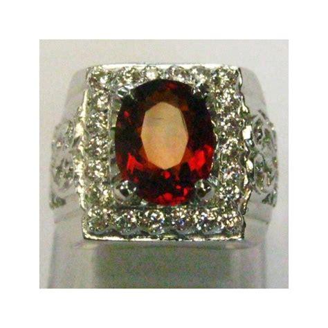 C71 Cincin Pria Wanita Reddish Orange Safir Ring Alpaka Murah Cincin Pria Silver 925 Batu Permata Orange Garnet 7 75 Us