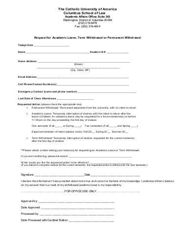 request for leave of absence or complete withdrawal