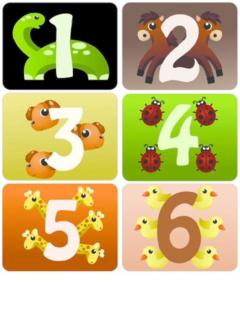 printable numbers with animals counting with animals flashcards 1 6 preschool