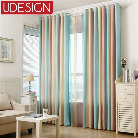 fancy curtains for bedroom 1pc blue striped printed window curtains for the bedroom