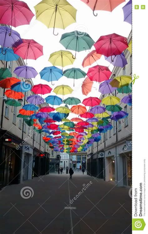 X2 3746 St Umbrella artistic decoration with umbrellas in bath uk editorial image image 74753550