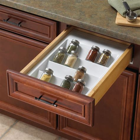 Drawer Spice Storage by Knape Vogt White Polystyrene Spice Tray Drawer