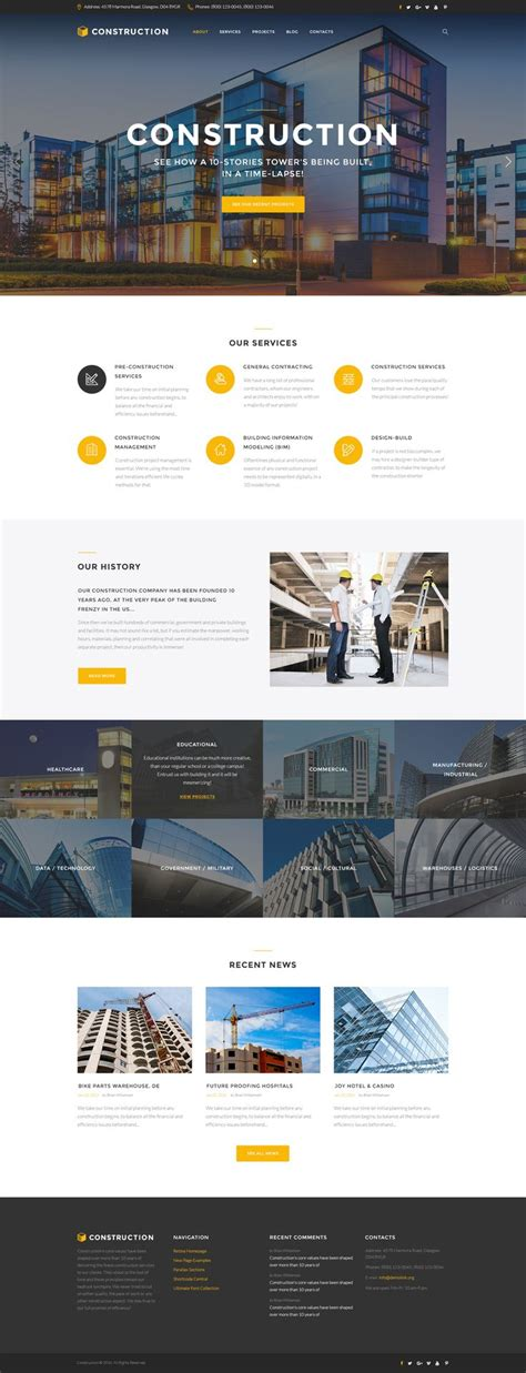 bootstrap templates for construction best 25 construction website ideas on pinterest