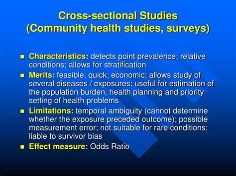 problems with cross sectional studies ppt study designs in epidemiology powerpoint