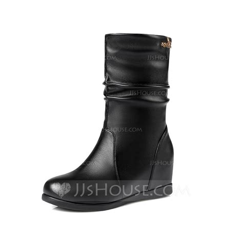 Wedge Mid Calf Boots s real leather wedge heel mid calf boots shoes