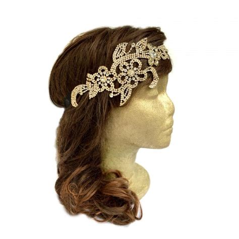 Rhinestone Flower Headpiece gatsby headpiece gold flower rhinestone headpiece gold