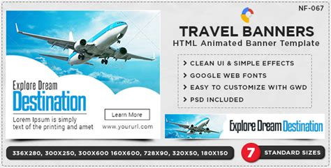 design banner tour 15 cool travel html5 animated ad banner templates
